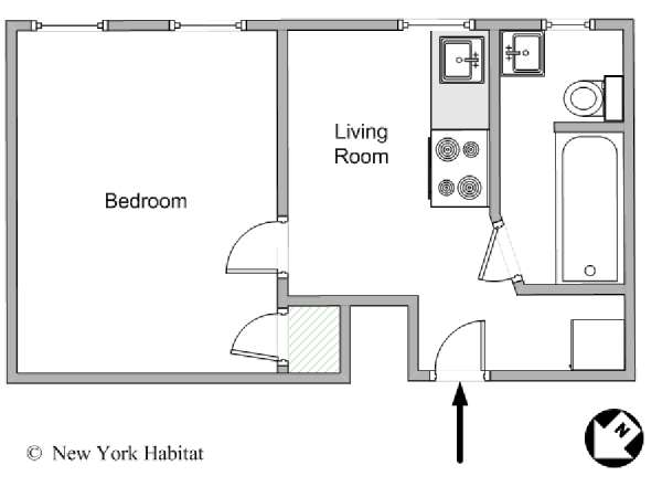 New York 1 Bedroom apartment - apartment layout  (NY-11475)