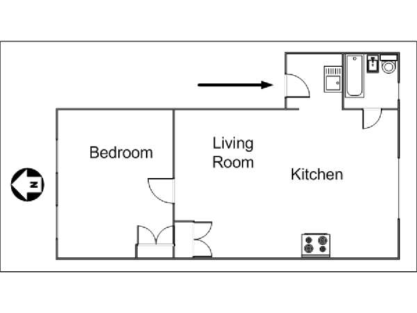 New York 1 Bedroom apartment - apartment layout  (NY-11512)