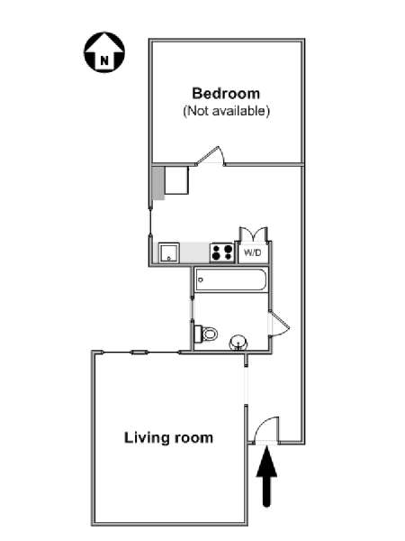 New York T2 appartement colocation - plan schématique  (NY-11520)