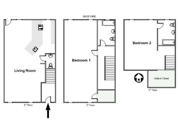 New York 2 Bedroom - Triplex apartment - apartment layout  (NY-11596)