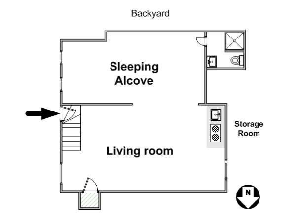 New York Studio T1 appartement location vacances - plan schématique  (NY-11870)
