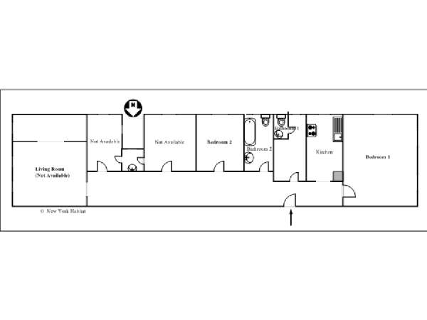 New York T4 appartement colocation - plan schématique  (NY-11895)
