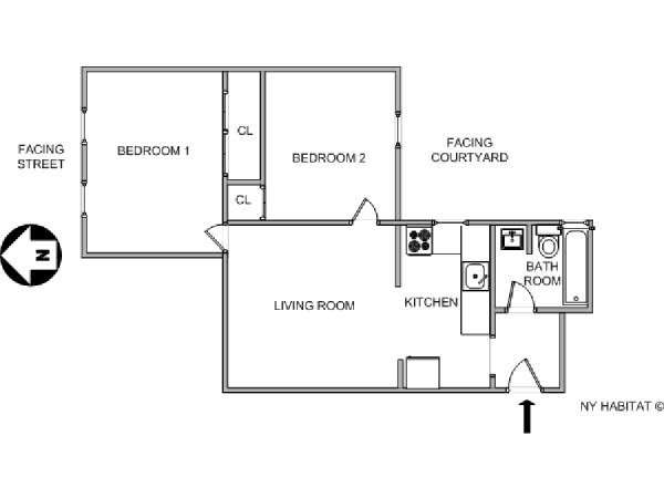 New York T3 logement location appartement - plan schématique  (NY-12071)