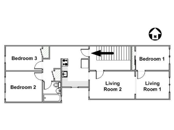 New York 3 Bedroom accommodation - apartment layout  (NY-12431)