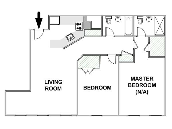 New York 2 Bedroom roommate share apartment - apartment layout  (NY-12438)