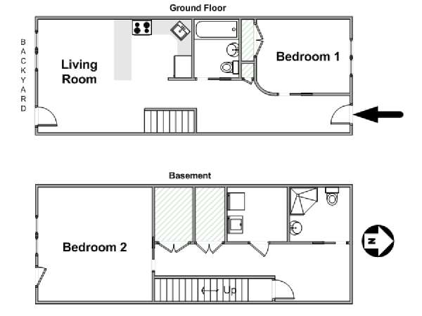 New York 2 Bedroom - Duplex apartment - apartment layout  (NY-12546)