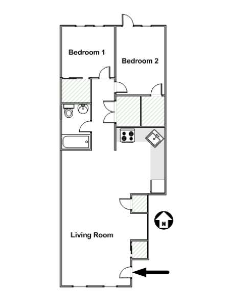 New York 2 Bedroom accommodation - apartment layout  (NY-12585)