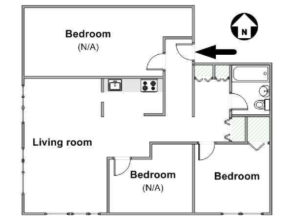 New York 3 Bedroom roommate share apartment - apartment layout  (NY-12639)