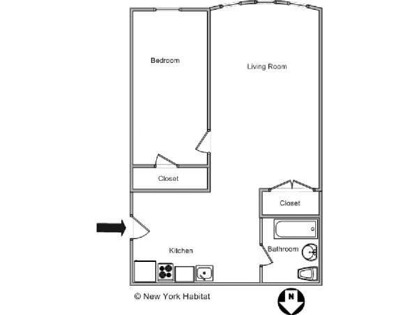 New York T2 logement location appartement - plan schématique  (NY-12655)