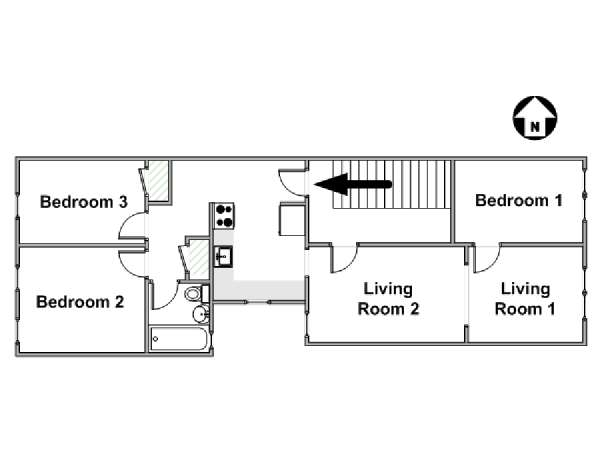 New York 3 Bedroom roommate share apartment - apartment layout  (NY-12899)