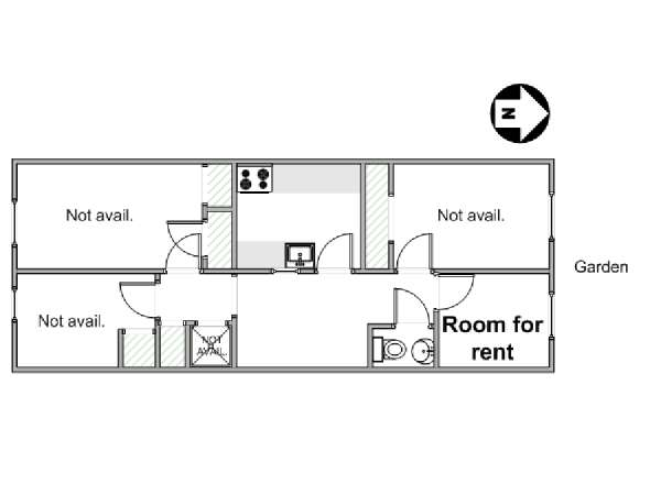 New York 7 Bedroom roommate share apartment - apartment layout  (NY-14010)