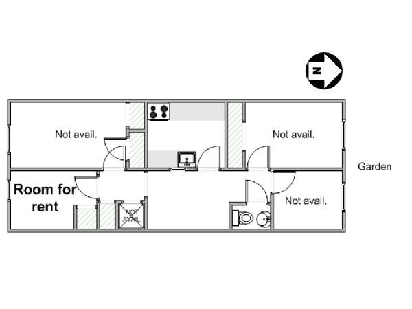 New York 7 Bedroom roommate share apartment - apartment layout  (NY-14137)