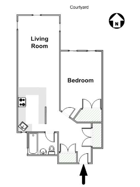 New York 1 Bedroom apartment - apartment layout  (NY-14152)