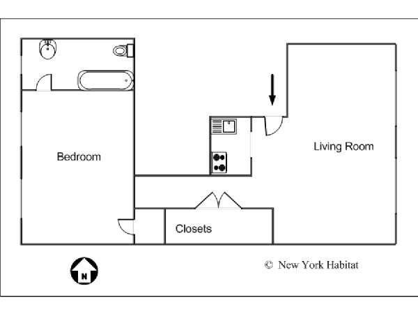 New York 1 Bedroom accommodation - apartment layout  (NY-14252)
