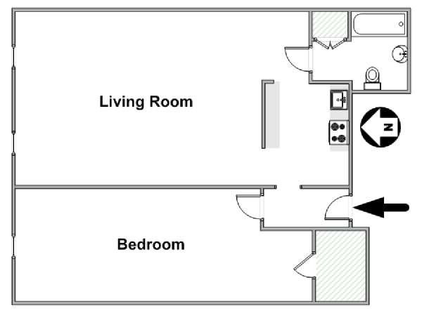 New York 1 Bedroom apartment - apartment layout  (NY-14269)