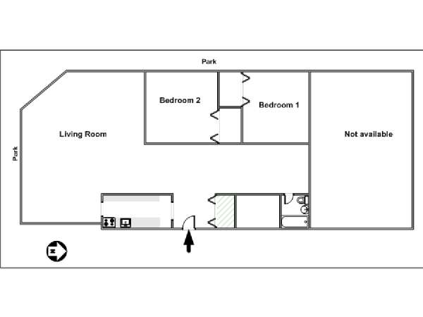 New York T4 appartement colocation - plan schématique  (NY-14282)