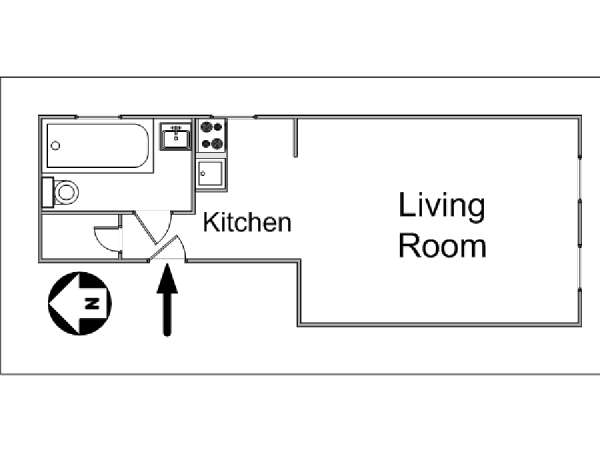 New York Studio T1 logement location appartement - plan schématique  (NY-14363)