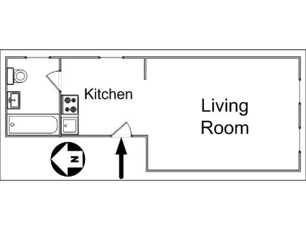 New York Studio T1 logement location appartement - plan schématique  (NY-14366)