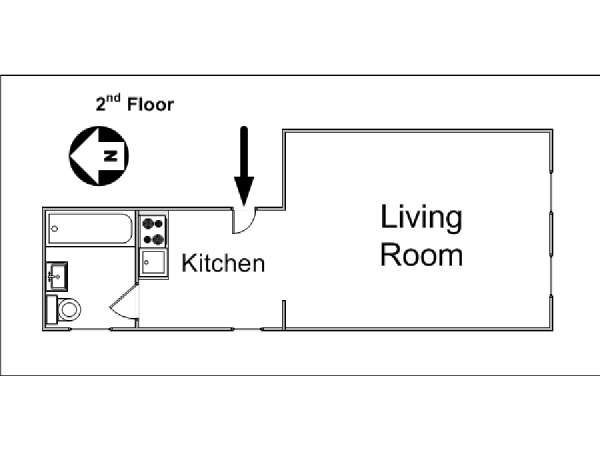 New York Studio T1 logement location appartement - plan schématique  (NY-14367)
