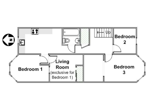 New York T4 appartement colocation - plan schématique  (NY-14534)