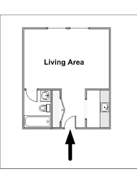 New York Studio T1 appartement location vacances - plan schématique  (NY-14539)