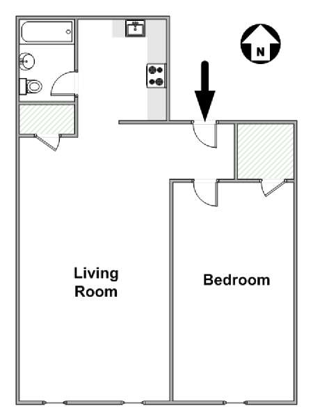 New York 1 Bedroom apartment - apartment layout  (NY-14557)