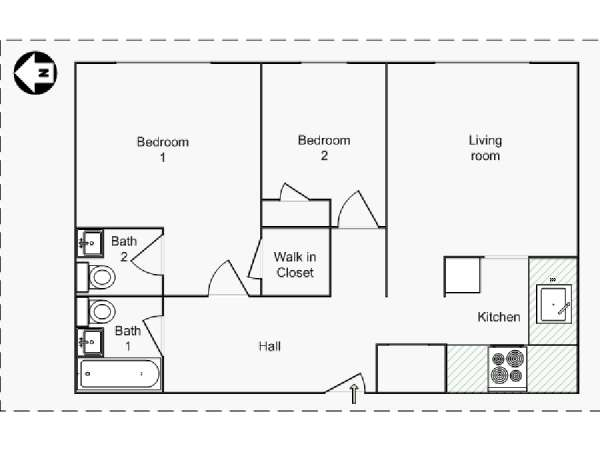 New York 2 Bedroom roommate share apartment - apartment layout  (NY-14568)