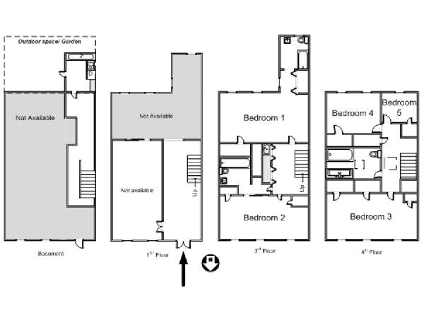 New York 5 Bedroom roommate share apartment - apartment layout  (NY-14655)