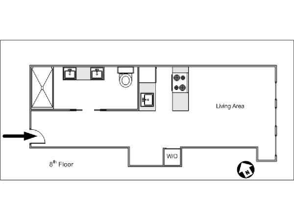 New York Studio T1 logement location appartement - plan schématique  (NY-14658)