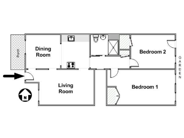 New York 2 Bedroom accommodation - apartment layout  (NY-14684)