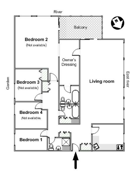 New York 4 Bedroom roommate share apartment - apartment layout  (NY-14708)