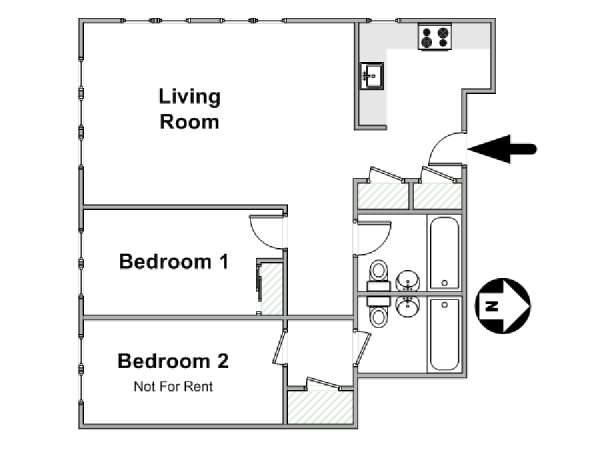 New York 2 Bedroom roommate share apartment - apartment layout  (NY-14710)