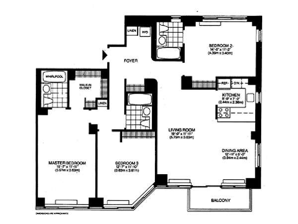 New York T4 logement location appartement - plan schématique  (NY-14742)