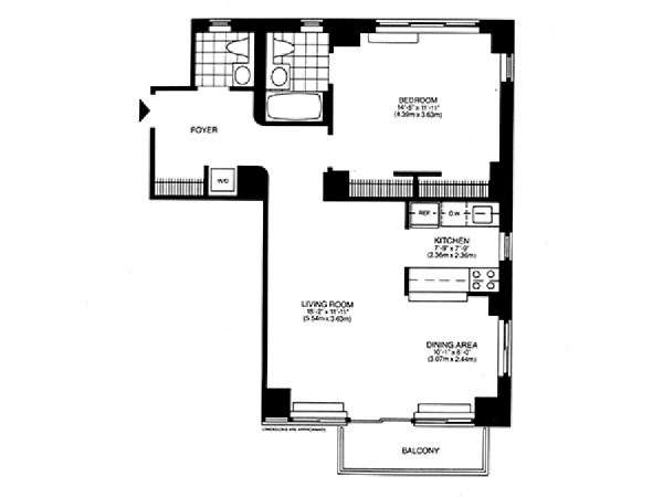 New York 1 Bedroom accommodation - apartment layout  (NY-14746)