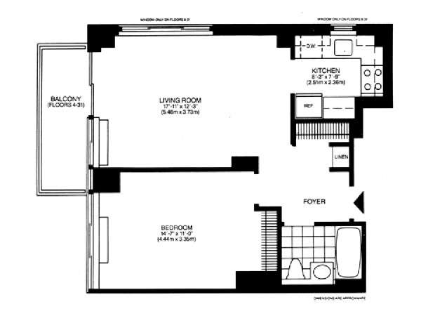 New York T2 appartement location vacances - plan schématique  (NY-14748)