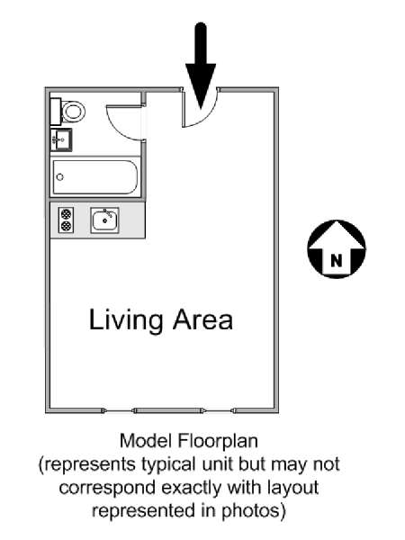 New York Studio T1 logement location appartement - plan schématique  (NY-14754)