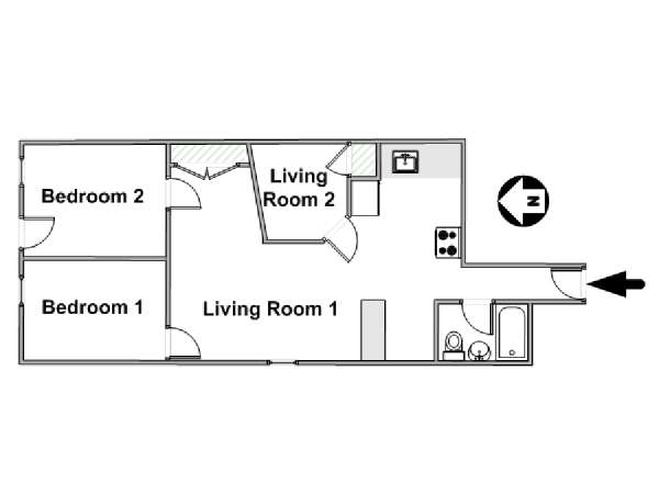 New York 2 Bedroom roommate share apartment - apartment layout  (NY-14810)