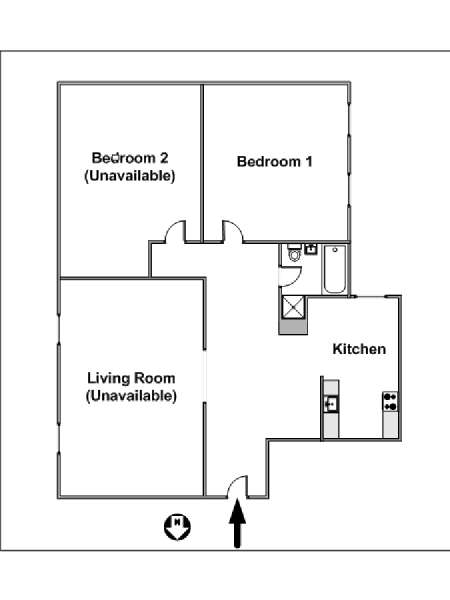 New York 2 Bedroom roommate share apartment - apartment layout  (NY-14973)