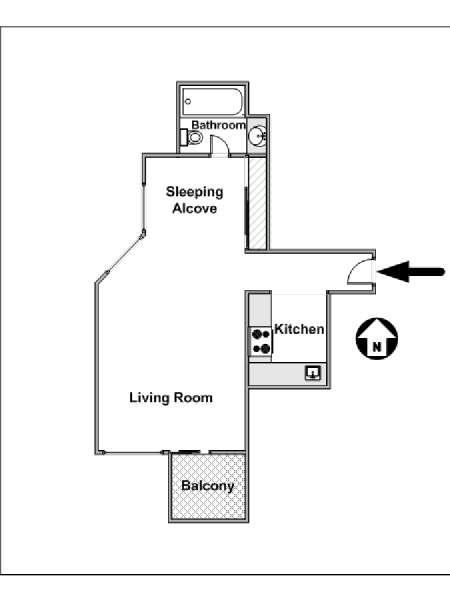 Image Slider New York Alcove Studio Apartment   Apartment Layout (NY 14980)
