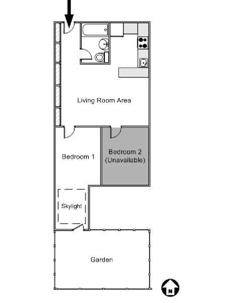 New York 2 Bedroom roommate share apartment - apartment layout  (NY-14991)