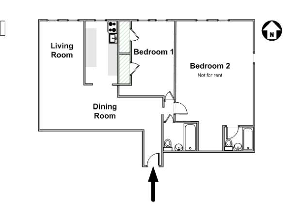 New York 2 Bedroom roommate share apartment - apartment layout  (NY-15005)