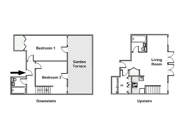 New York T4 - Duplex logement location appartement - plan schématique  (NY-15011)