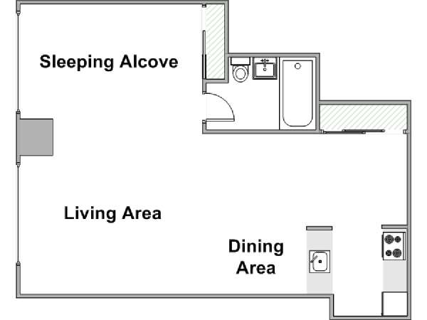 New York Studio apartment - apartment layout  (NY-15099)