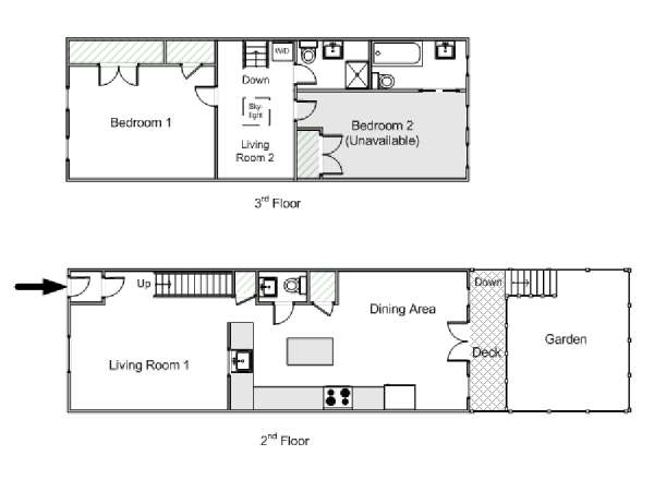 New York T3 - Duplex appartement location vacances - plan schématique  (NY-15105)