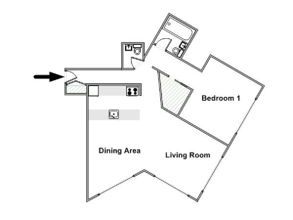 New York T2 logement location appartement - plan schématique  (NY-15129)