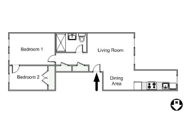 New York 2 Bedroom apartment - apartment layout  (NY-15167)