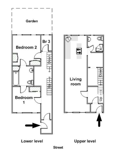 New York T4 - Duplex appartement colocation - plan schématique  (NY-15191)