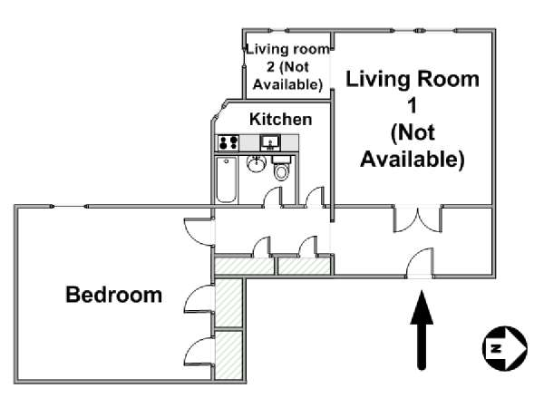 New York 2 Bedroom roommate share apartment - apartment layout  (NY-15264)