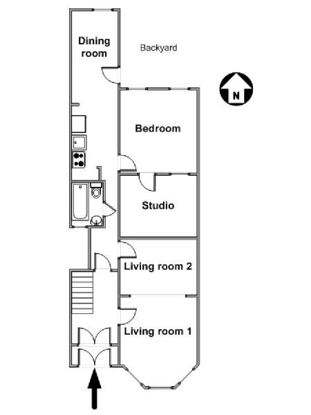 New York 1 Bedroom accommodation - apartment layout  (NY-15266)
