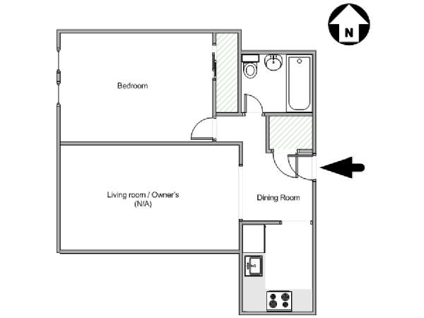New York 1 Bedroom roommate share apartment - apartment layout  (NY-15284)